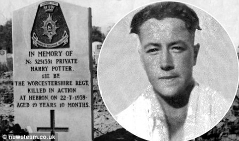 Landmark: Private Harry potter and the grave in Ramla, Israel which has become a tourist attraction with fans of the books and movies