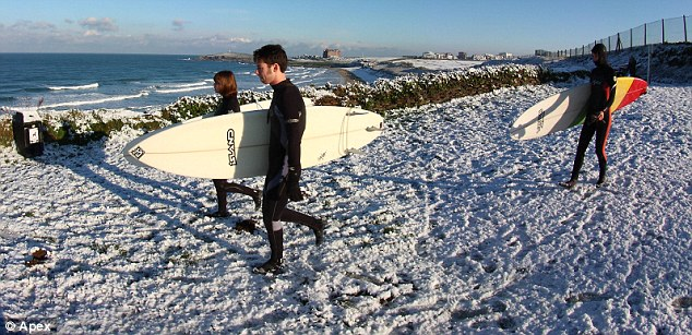 Brave: Surfers walk over the snow as they head to the sea at Fistral Beach, Newquay