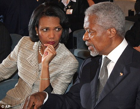 Mrs Clinton's orders followed on from those given by former U.S. Secretary of State Condoleeza Rice, shown here with former United Nations Secretary-General Kofi Annan in Rome in 2006