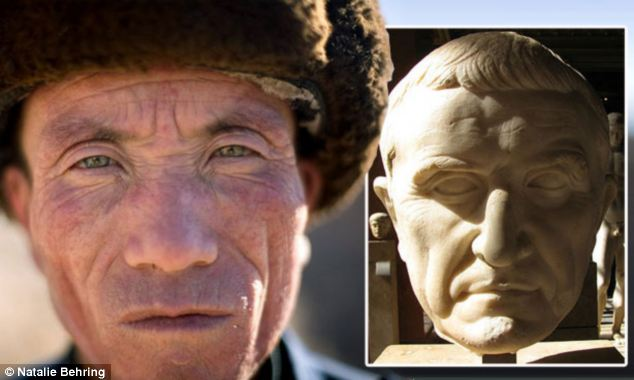 Chinese villager Cai 'the Roman' and a bust of the famous Roman commander Magnus Crassus