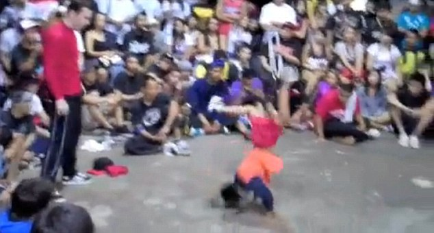 Battle: Angelo 'Lil' Demon' Baligad is shown in a video of a dance-off with Joshua 'Bboy Milky' Ayres