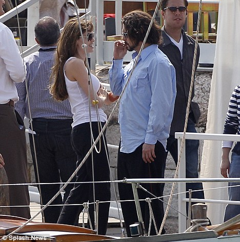 Avoiding rumours: Depp was careful not to look to close with his The Tourist co-star, Angelina Jolie, pictured together during filming in Venice