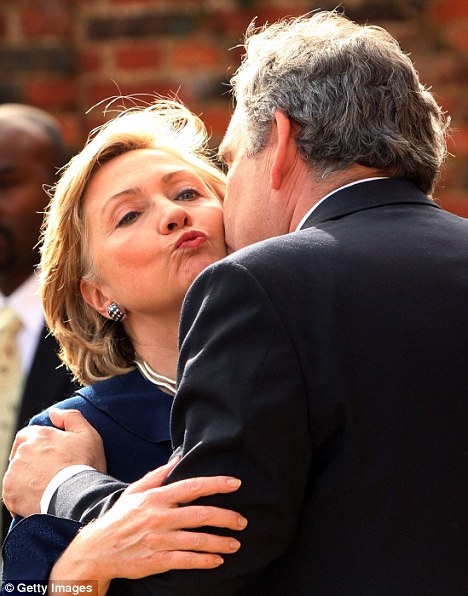 No love lost: Mr Brown greets Hillary Clinton during her visit to England in October 2009