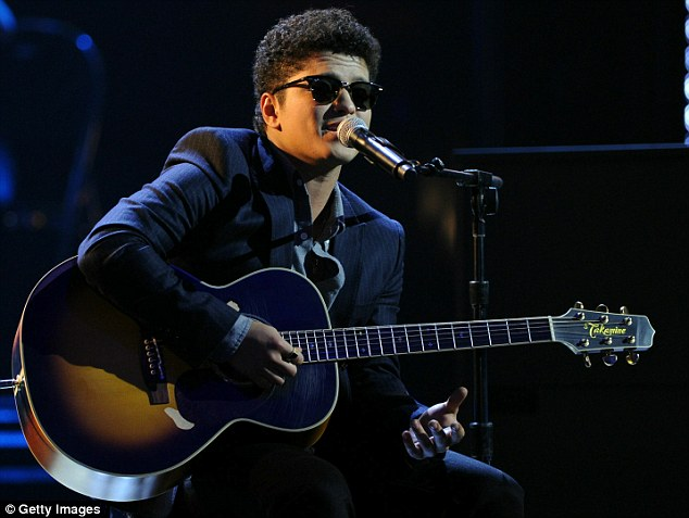 Breakout star: Bruno Mars performed a simple acoustic version of his smash Just the Way You Are