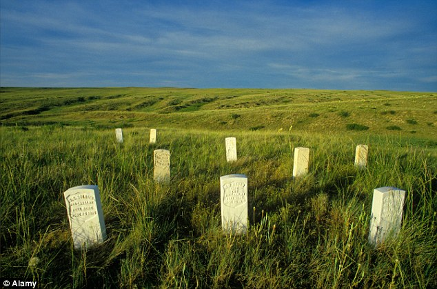 As it is now: The battlefield in Montana has marble markers pinpointing the spots where soldiers in the 7th Calvary fell on June 25, 1876