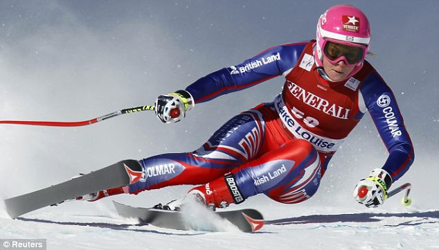 Speed queen: Alcott in action before she crash-landed in a steep section of the piste known as Coaches Corner