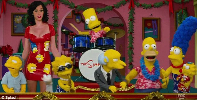 Performance: Katy sang a spoof version of The 39-Days of Christmas along with The Simpsons cast Moe, Lisa, Bart, Mr Burns, Homer, Marge and Maggie