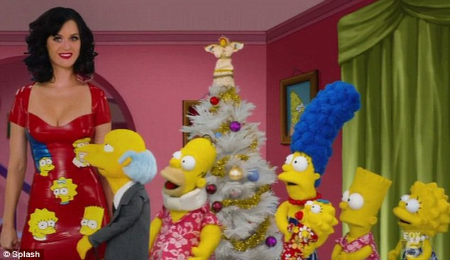 Special guest: Katy Perry starred in a special Christmas episode of The Simpsons in a provocative PVC low-cut red dress following being cut from a scheduled appearance in Sesame Street