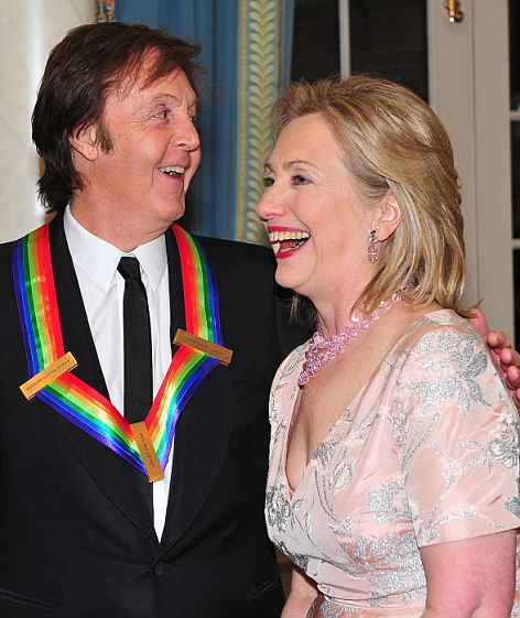 Mrs. Clinton joked with Paul McCartey at the event. She has said 'Hey Jude' is a personal favourite