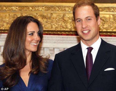 Happy couple: Buckingham Palace has banned royal tea towels marking the Royal Wedding