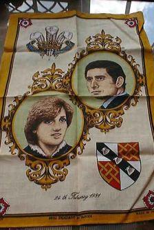 The tea towel to mark the wedding of Prince Charles and Diana's 1981 wedding