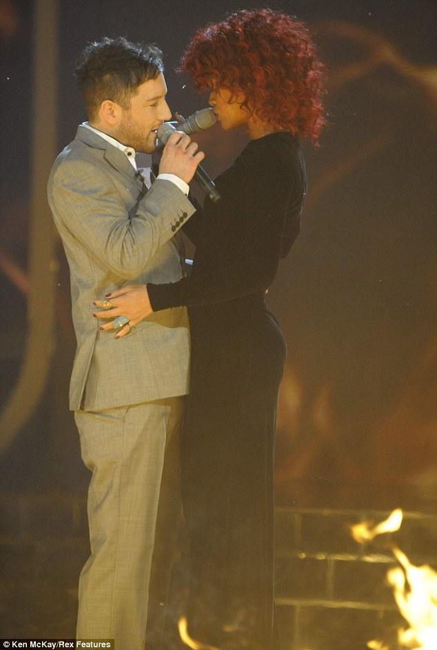 On fire: Matt singing Unfaithful with Rihanna in the X Factor final