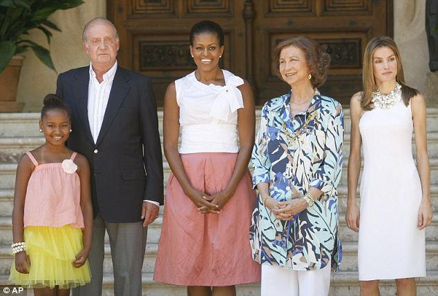 With her big sister away at summer camp, just Sasha made the trip to Spain with mom Michelle, where they posed with King Juan Carlos,  Queen Sofia and Princess Letizia