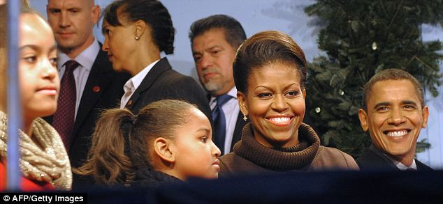 Sasha looked no happier at last year's National Christmas Tree Lighting ceremony on December 3, 2009