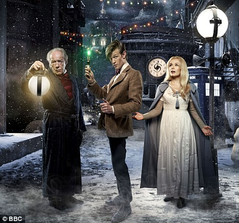 In the festive mood: Michael Gambon, Matt Smith and Katherine Jenkins in the Doctor Who Christmas special