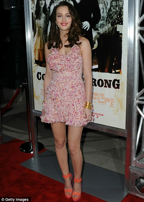 Pretty in pink: Gossip Girl star Leighton Meester wore a multi-stranded pink mini dress with bright orange shoes