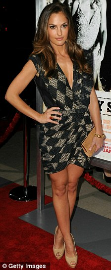 Glamour girls: Actress Minka Kelly looked stylish in a grey and black mini dress, while Hills star Kristin Cavallari arrived in a brown patterned number