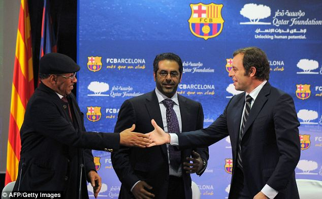 Barca president Rosell (right) with Qatar Foundation vice-president Ahmad al-Sulaiti (centre) and Qatar Sports Investment's managing director Saif Ali al-Hajari at the announcement of the record-breaking shirt deal