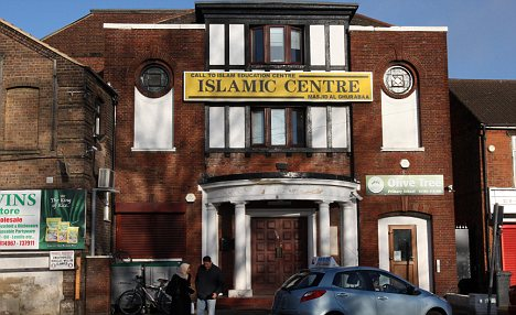 The Luton Islamic Centre in the Bury Park area of the town where police were searching a property as part of a probe into the suicide car bombing in Sweden