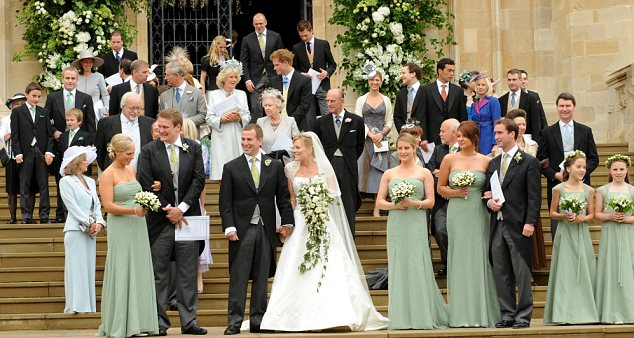 Magazine deal: Zara, pictured far left, front row, as bridesmaid at the 2008 wedding of her brother Peter Phillips to Autumn Kelly. The couple sold the picture rights to the event for £500,000