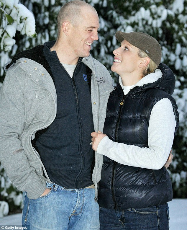 Zara Phillips and her fiance Mike Tindall pose at their Gloucestershire home