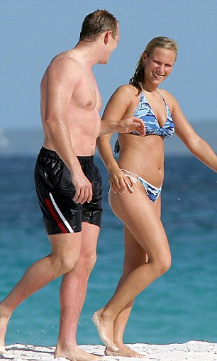 2003: Zara separated from Richard Johnson - and took up with rugby star Mike Tindall. The pair met in Sydney on the night of England's triumph in the 2003 Rugby World Cup