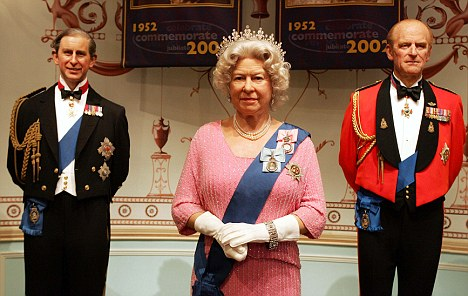 On display: Waxworks of Prince Charles (left) Queen Elizabeth II and Prince Philip currently at the waxworks museum