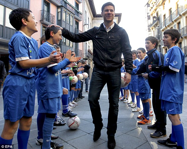 Link-up: Xabi Alonso, on a visit to his hometown Tolosa, could have a new partner