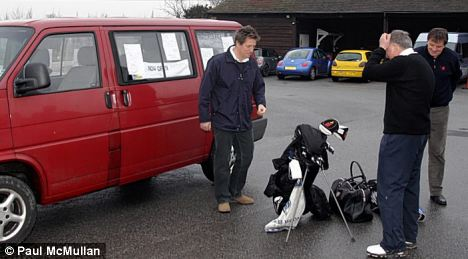 My other car's a Ferrari: Hugh eventually got a lift from pub landlord Paul McMullan, who took him to exclusive golf club Royal St George's in his15-year-old VW Kombi van