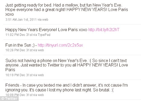 Twitter: She tweeted to say that she had a 'fun' but 'mellow' New Year and also complained that it 'sucks' not being able to text her friends after losing her phone