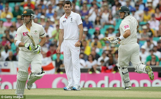 Not pleased: Anderson looks with real consternation as poor fielding costs runs against his name