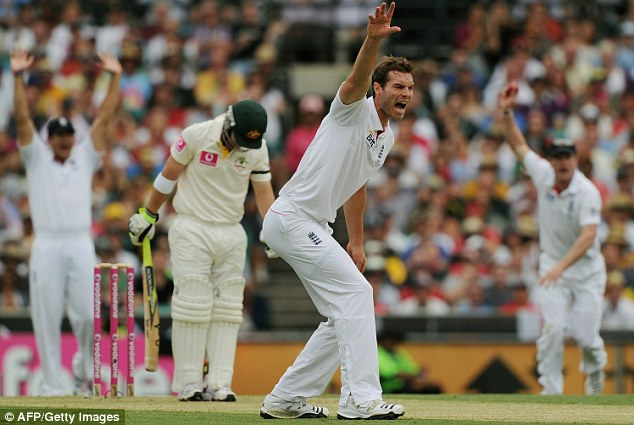 How is he? Tremlwtt appeals - unsuccessfully - for Watson's wicket