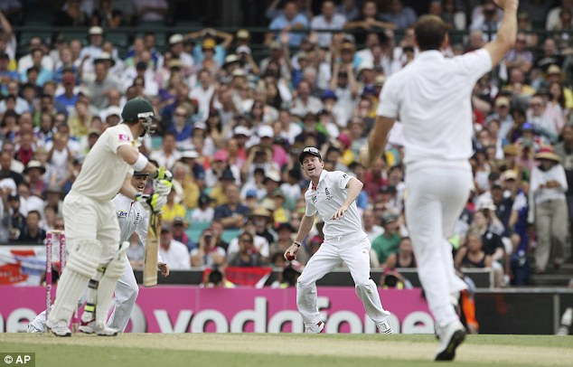 Got him! Collingwood holds on to the catch which dismisses Hughes on the stroke of lunch
