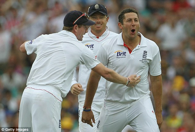 Bang on Tim: Bresnan celebrates taking the wicket of opener Watson