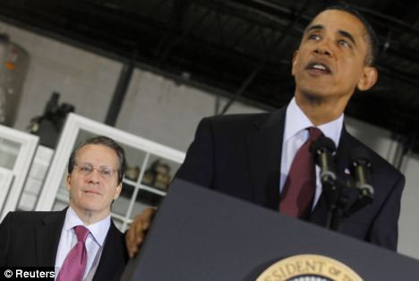 Challenge: President Obama,flanked by the new head of the Economic Council, Gene Sperling, offers an upbeat message on the economy in Maryland today