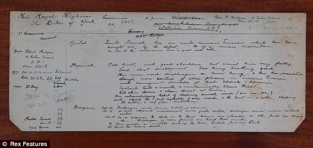 Long-forgotten: An appointment card showing King George VI's visit to Lionel Logue's Harley street clinic. The long-forgotten documents were not found until last year