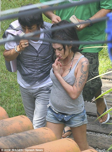 Catch up: Ronnie Wood visits Amy Winehouse at the Santa Teresa Hotel in Rio De Janeiro, Brazil