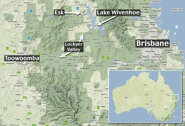 Map showing the main areas affected by the Queensland flooding