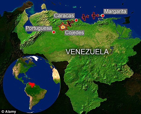 Fateful route: The light plane had been travelling from Margarita to Caracas when it changed route towards Portuguesa and crashed in Cojedes