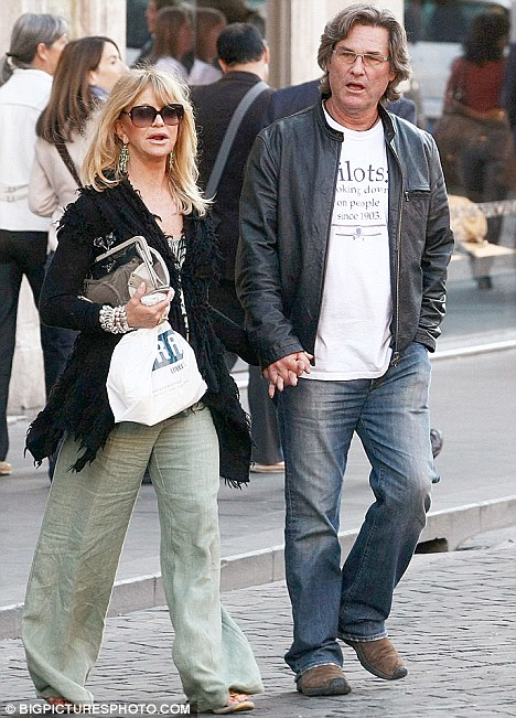 Hollywood golden couple: The blonde is now in a long-term relationship with actor Kurt Russell