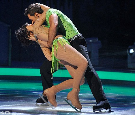 Clinch: The pair performed a romantic dance to Madonna's Crazy For You