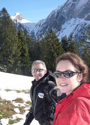 Becky is pictured with top ski guide Guido Guidetti