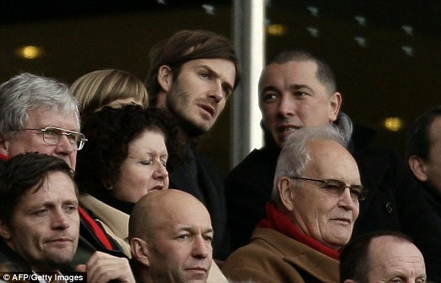 David Beckham, who is training with north London rivals Spurs, in the crowd at the Emirates Stadium