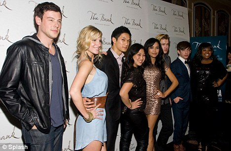Party time: The close-knit cast (L-R) Cory Monteith, Heather Morris, Harry Shum, Jenna Ushkowitz, Naya Rivera, Chord Overstreet, Kevin McHale and Amber Riley celebrated in style