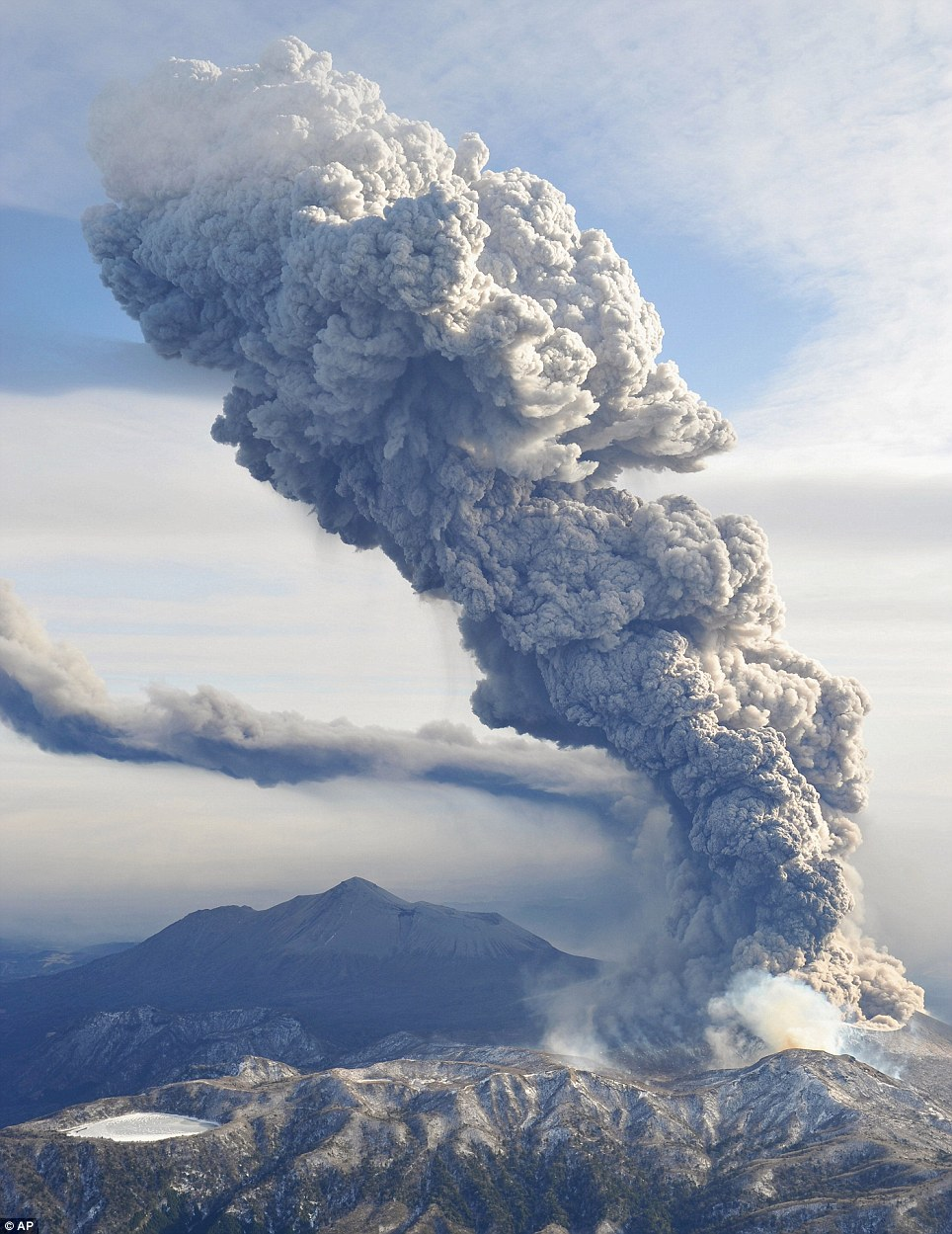 Ash and smoke continued to billow 5,000ft above Shinmoedake today as residents were banned from going within a mile of the volcano