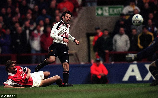 Finest hour: Giggs fires home his unforgettable FA Cup winner for United against Arsenal in 1999