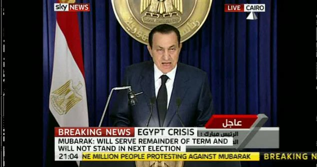 President Mubarak announced his plan to step aside in a televised address last night
