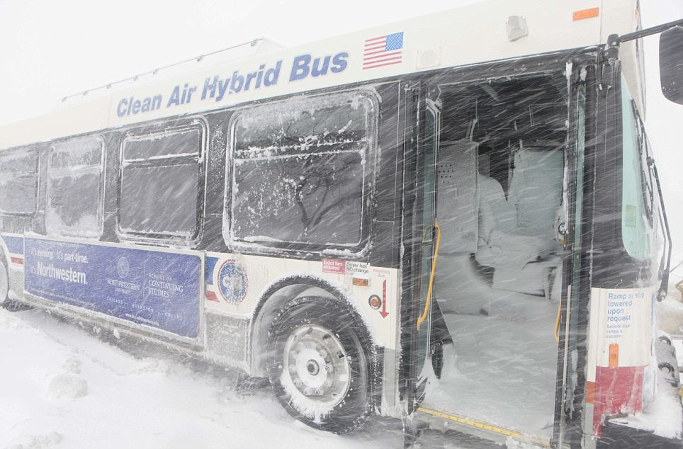 Snow accumulated inside this stranded Chicago Transit bus after the door was left open during the severe storm