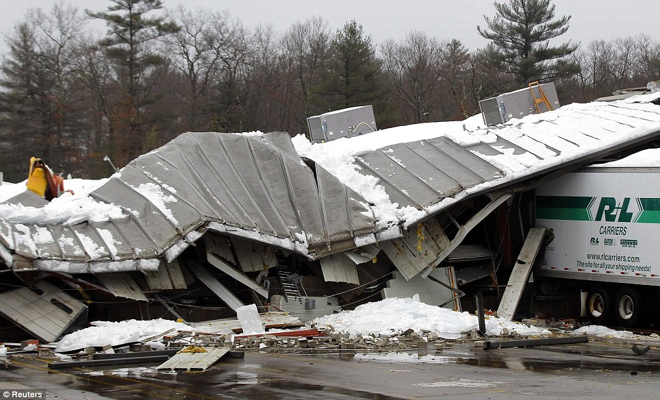 Nature's power: Despite being built of brick and metal, the building collapsed as though it were made of tin foil