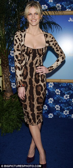 Walking on the wild side: Brooklyn Decker looked hot to trot in an animal print dress, teamed with purple heels, as she attended the premiere of her first movie